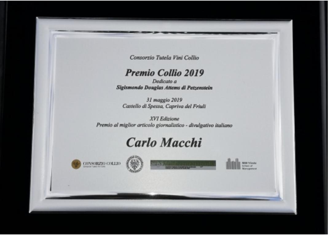 Photo of Complimenti a Carlo Macchi vince il Premio Collio